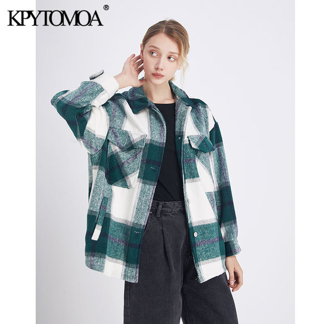 Vintage Stylish Plaid Jacket Coat Lapel Collar Long Sleeve Loose Outerwear Chic Tops 5
