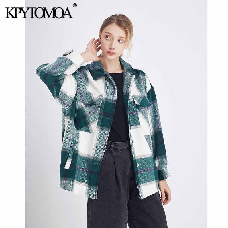 Vintage à moda bolsos oversized xadrez jaqueta casaco feminino 2020 moda lapela gola manga longa solta outerwear chic topos