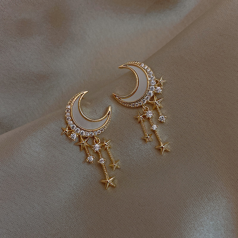 2020 New Arrival Trendy Acrylic Moon Dangle Earrings For Women Temperament Fashion Geometric Gold Color Metal Party Pendiente