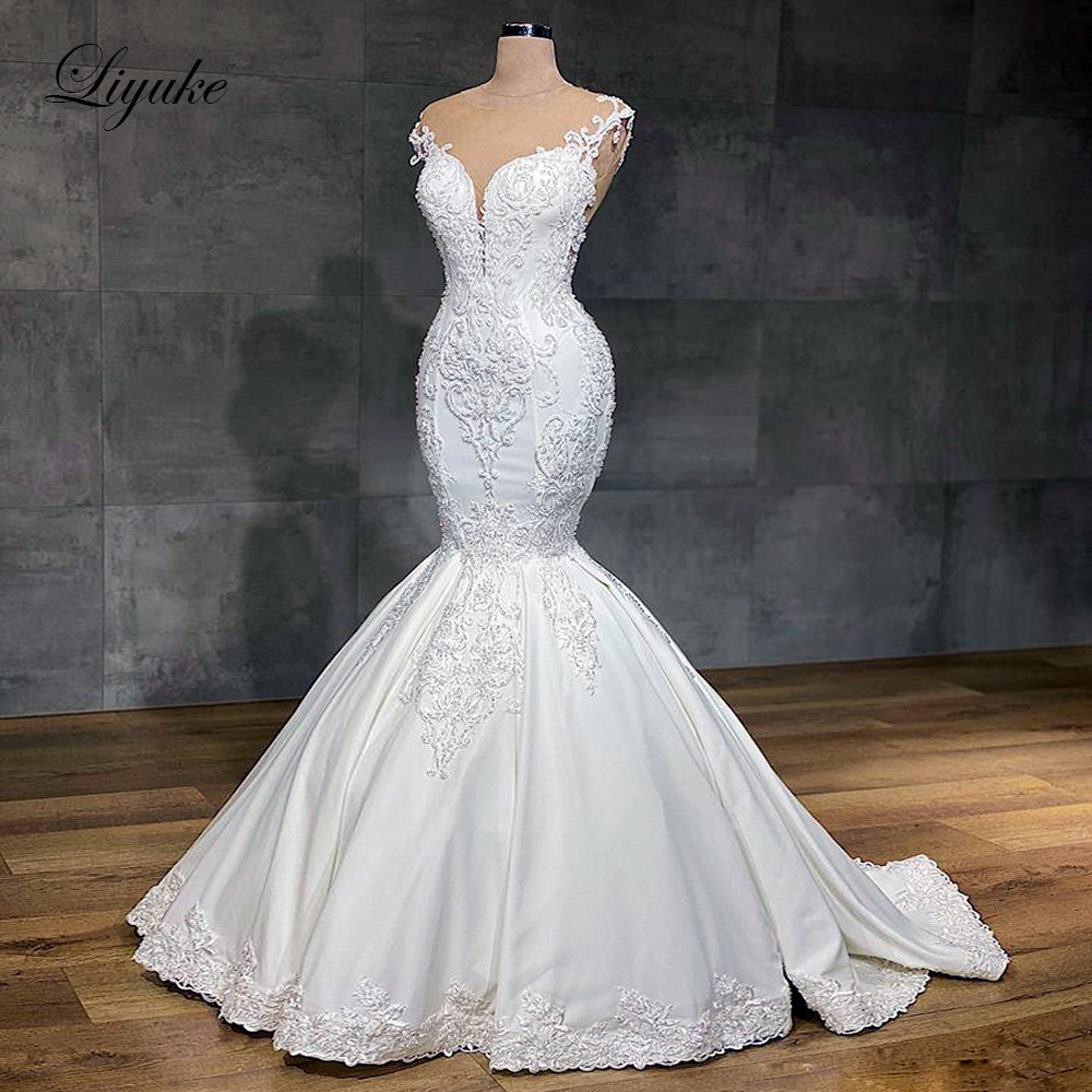 Liyuke 2020 Designer Mermaid Wedding Dress Real Work Full Beading Bridal Make Up