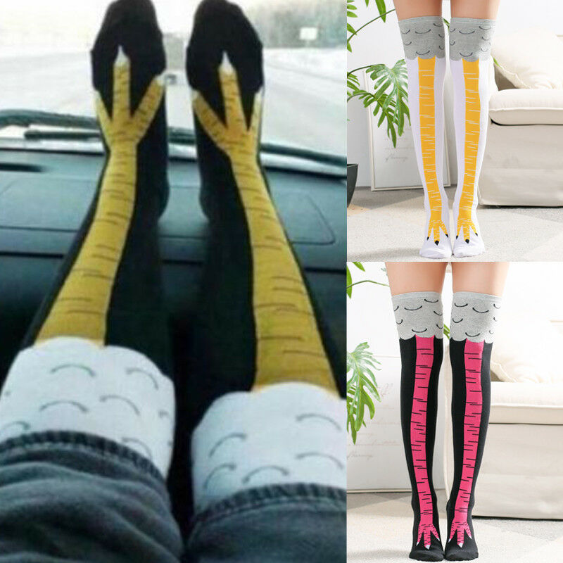 New Arrival Women Girl Above/Below Knee-High Socks Chicken Leg Funny 3D Creative Cartoon Animals Thigh Stockings Womens Mens