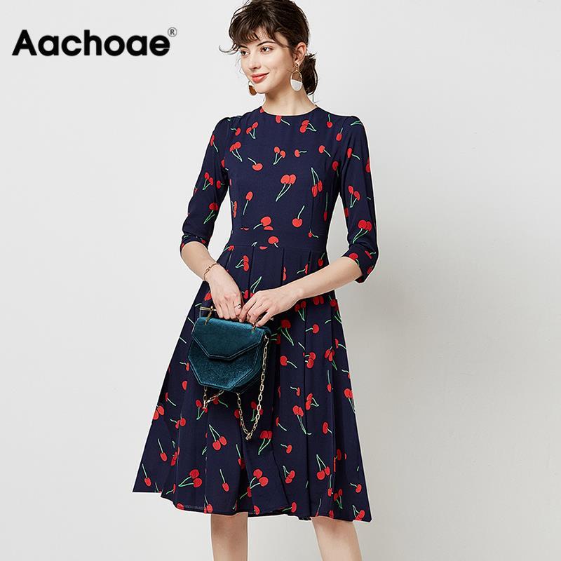 Vintage O Neck Casual A Line Cherry Print Dresses Women 2020 Autumn Three Quarter Sleeve Midi Dress Elegant Party Pleated Dress
