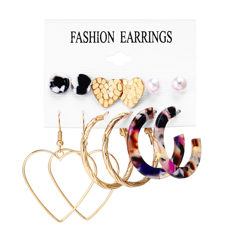 H26ba7e8f6f8d4780b78e64d205e34cd4w - IF ME Fashion Vintage Gold Pearl Round Circle Drop Earrings Set For Women Girl Large Acrylic Tortoise shell Dangle Ear Jewelry
