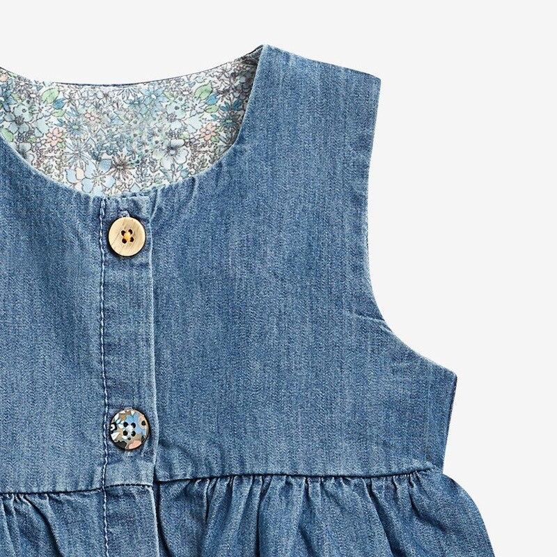 Little Maven 2021 Summer Baby Girl Clothes Children Unicorn Denim Color Sundress Pinafore Sleeveless Dress for Kids 2-7 Years 4