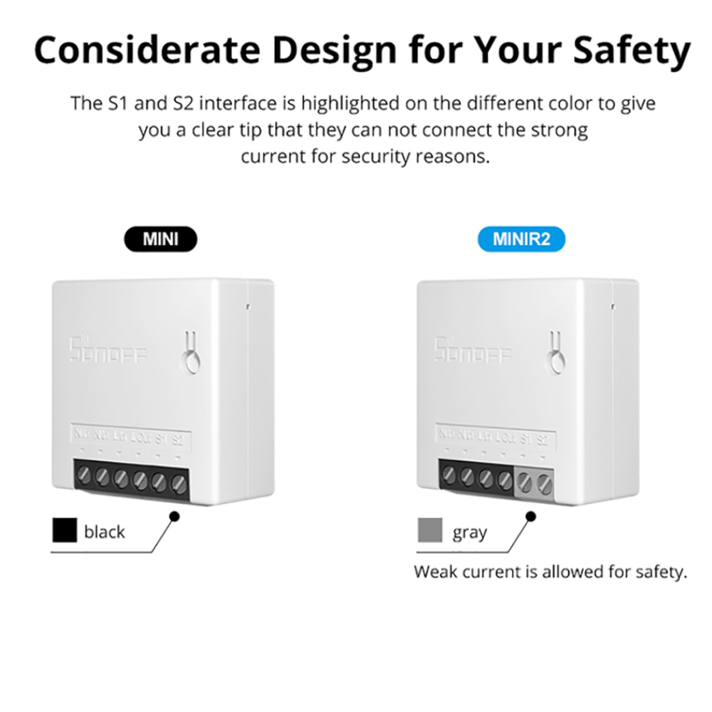 Google Home Assistant Sonoff MINI R2 5PCS Interruptor inteligente inal/ámbrico WiFi para Casa Inteligente,Funciona con Alexa