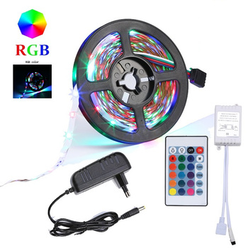 5M RGB LED Strip 5M 5050 SMD LED Light Tape Flexible Ribbon Waterproof IR Remote Controller DC 12V Power Adapter Full set for pa image