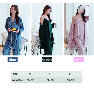 Image 5 - Women Pajamas sleepwear Velvet 3 Pieces pajamas for women Warm Winter Pajamas Sets Sexy Pajama Set Women pyjama cotton pijama