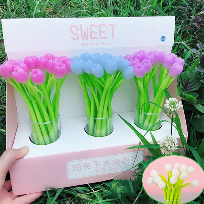 Creative Discolor Tulip Gel Pen Kawaii Cute Flower Pen Novelty Neutral Pen For Kids Girls Gift School Office Stationery Supplies