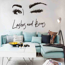 Beautiful Eyes Lash Brow Women Wall Art Sticker Eye Lashes Extensions Beauty Salon Wall Decals Room Decoration Eyebrows Make Up(China)