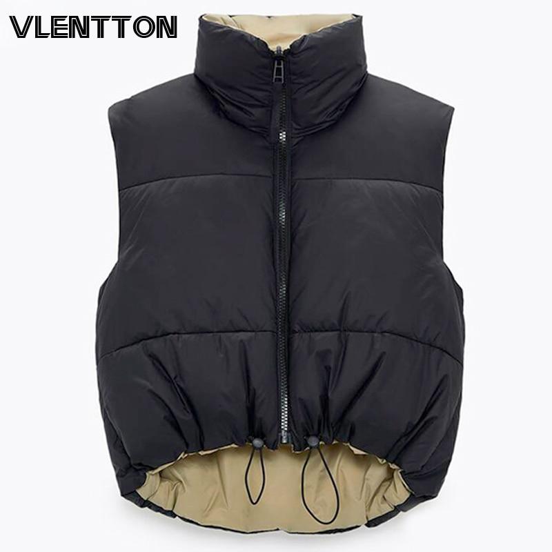 2021 autunno inverno donna moda giacca a doppia faccia cappotto Vintage nero caldo senza maniche in cotone Outwear femminile Casual top corti 1