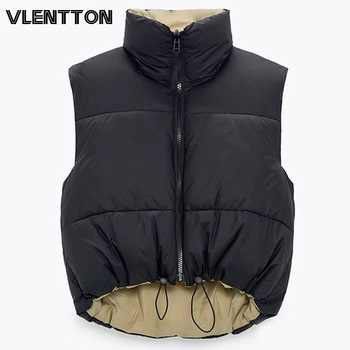2021 Autumn Winter Women Fashion Double-Sided Jacket Coat Vintage Black Warm Sleeveless Cotton Outwear Female Casual Short Tops 1