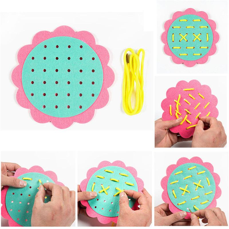 Early Learning Education Toys Montessori Teaching Aids Math Toys Threading Kindergarten Manual DIY Weave Cloth Wearing Laces