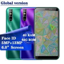 8A Quad Core Smartphones 13MP identificación facial teléfonos móviles 4G RAM 64G ROM teléfono 18:9 Pantalla Completa 6,0 pulgadas teléfonos móviles