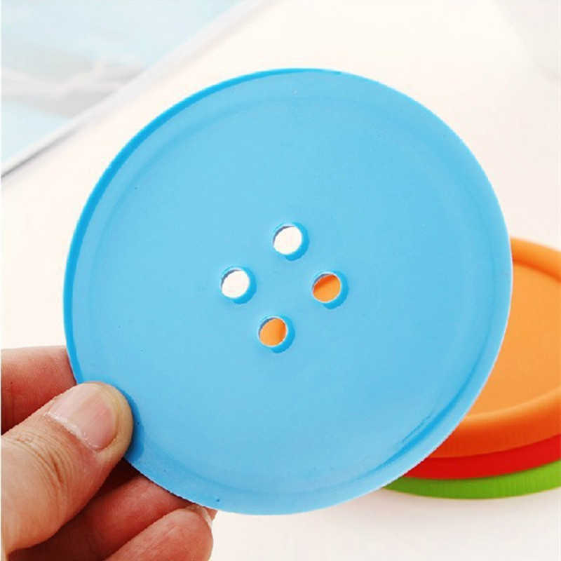 1 Pcs 단추 모양의 실리콘 코스터 다이닝 테이블 수호자 플레이스 매트 티 컵 커피 머그잔 절연 매트 유리 슬립 패드 장식