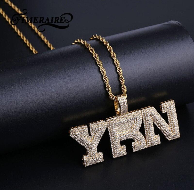 Hommes Hip Hop personnalisé nom lettres pendentif collier Bling or argent cubique zircone Tennis chaîne collier bijoux pour Homme cadeau