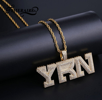 Men's Hip Hop Custom Name Letters Pendant Necklace Bling Gold Silver Cubic Zirconia Tennis Chain Necklace Jewelry For Homme Gift