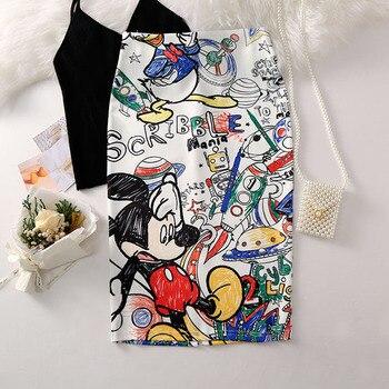 Women's Pencil skirt 2019 New Cartoon Mouse Print High Waist Slim Skirts Young Girl Summer Large Size Japan Female Falda SP534 3
