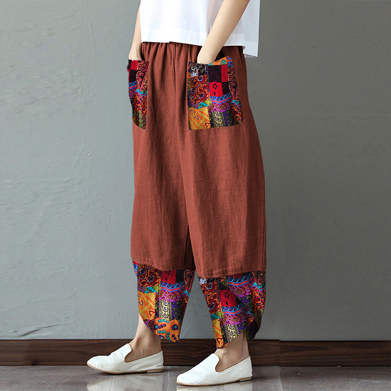 Women's Print Patchwork Trousers ZANZEA 2020 Kaftan Wide Leg Pants Casual Long Pantalon Palazzo Female Summer Turnip Plus Size