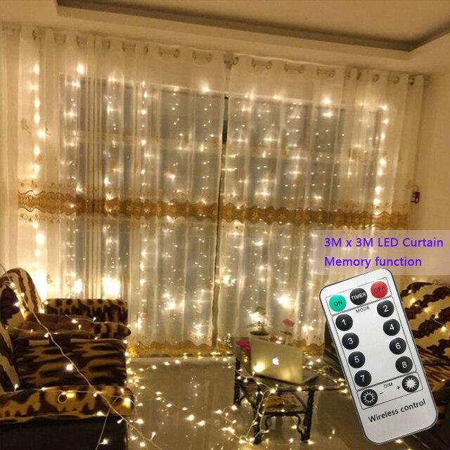 3x3m 300 led מחרוזת אורות פיית חתונת מסיבת גן led וילון דקור זרי חג מולד אור מחרוזת led אורות קישוט