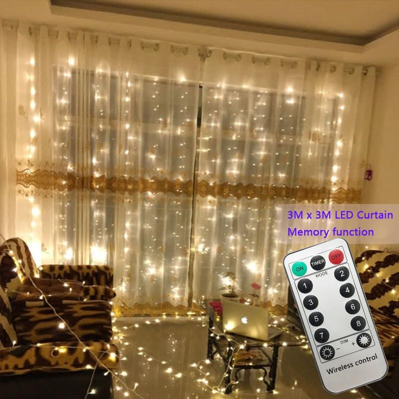 Светодиодная гирлянда 3x3 м, 300 светодиодов, гирлянда для свадьбы, сада вечерние, светодиодная гирлянда-занавеска, декор на Рождество, гирлянд...