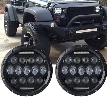 2X Running Light 75W Car Led 7inch Car Accessories Angel Eyes H4 Led Headlight For Lada Niva 4X4 Uaz Bronto Hunter Hummer Harley