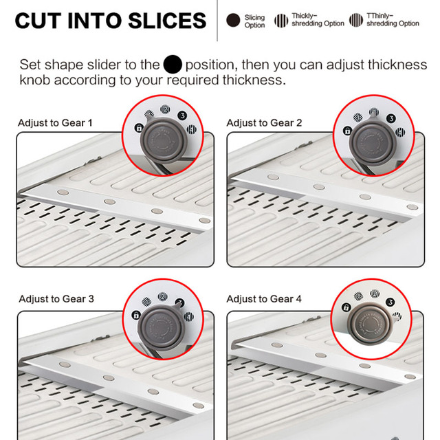Professional Vegetable Cutter Stainless Steel. 18 Types of Slices.