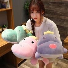 Lovely Soft High Quality Dinosaur Plush Toy Cartoon Animal Three Colors Stuffed Doll Bed Nap Pillow Girls Kid Presents