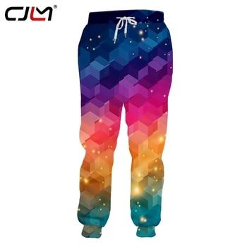 CJLM 2019 Unisex Hip Hop 3D Printed Service Oringial Colorful Squares Custom Plus Size Sweatpantss Dropshipping