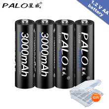 4Pcs AA Battery Rechargeable Batteries 1.2V AA 3000mAh Ni-MH Pre-charged Rechargeable Battery 2A Baterias for Camera With a box new arrival 4pcs pkcell 1 2v aa ni mh 2600mah lsd rechargeable batteries bateria pre charged batteries set with 1200 cycle