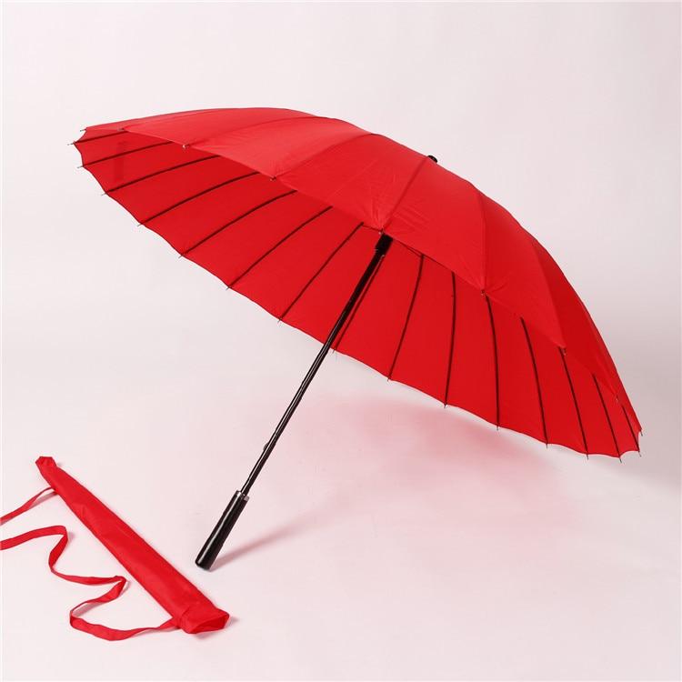 Currently Available 24 Bone Long Handle Umbrella Advertisement Gift Umbrella 24K Straight Handle Shang Wu San Creative Umbrella