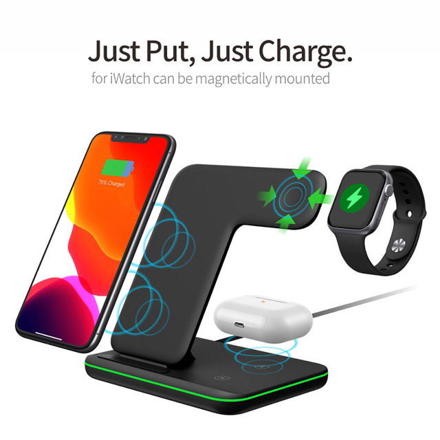 15W 3 in 1 Qi Wireless Charger Stand for iPhone 12 11 XS XR X 8 AirPods Pro Charging Dock Station For Apple Watch iWatch 6 5 4 3 2