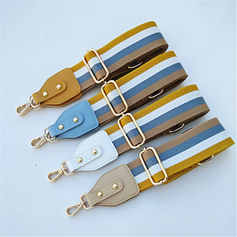 Colorful Striped Bag Wide Shoulder Strap Adjustable Shoulder Messenger Bag Shoulder Strap Women Bag Handbag Handles Long Belts