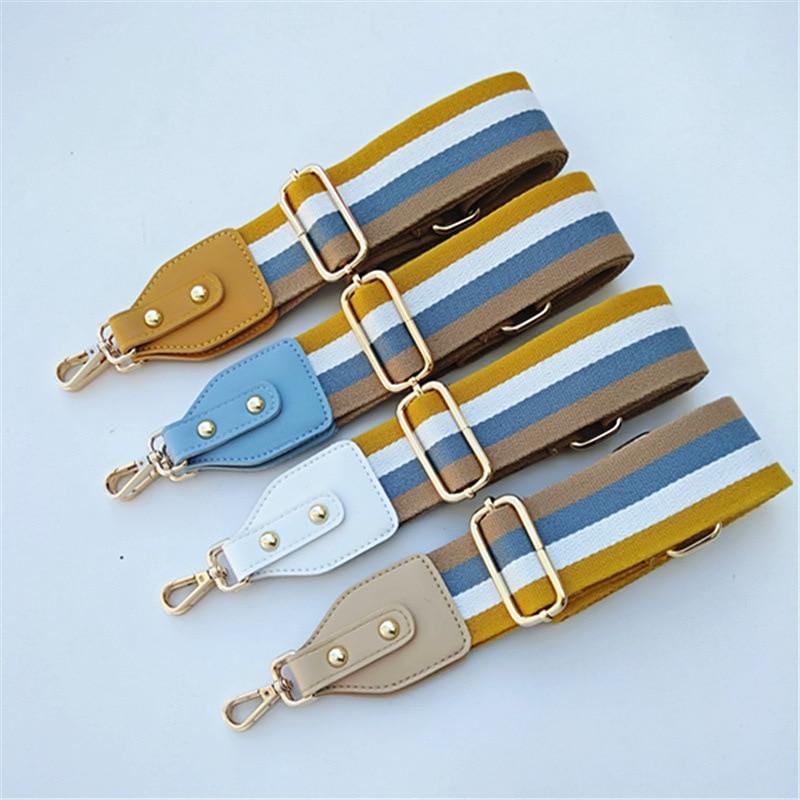 Colorful Striped Bag Wide Shoulder Strap Adjustable Shoulder Messenger Bag Shoulder Strap Women Bag Handbag Handles Long Belts