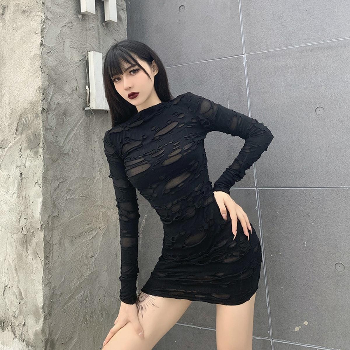 Helisopus New Gothic Black Mini Dress Streetwear Rock Punk Hollow Retro High Waist Long Sleeve Bodycon Party Dresses 7