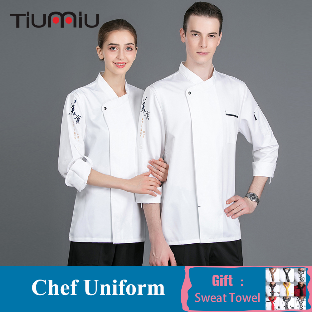 Women Men Home Kitchen Bakery Cook Chef Uniform Food Service Long Sleeve Tops Head Chef Jacket Restaurant Cafe Work Wear Coat