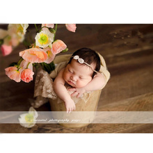 Newborn Photography Accessories Solid Color Iron Bucket Studio Props Baby Baskets Posing Chair Sofa Boy