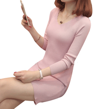 Women Knitted Dress Autumn Winter Sweater Dresses Lady V-neck Stretchy Long Sleeve Slim Bodycon Bottoming Party Dress Vestidos