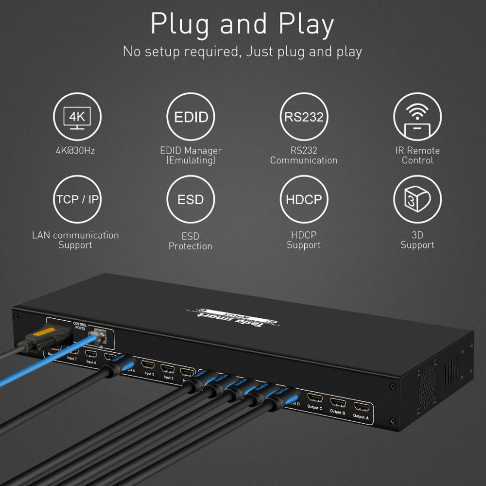 DHL Free Tesla smart 4K2K High Quality 8 in 8 out HDMI Matrix 8x8 with RS232/LAN 2Pcs 1U Rack Ears Ultra HD 4K Full HD 1080P 3D