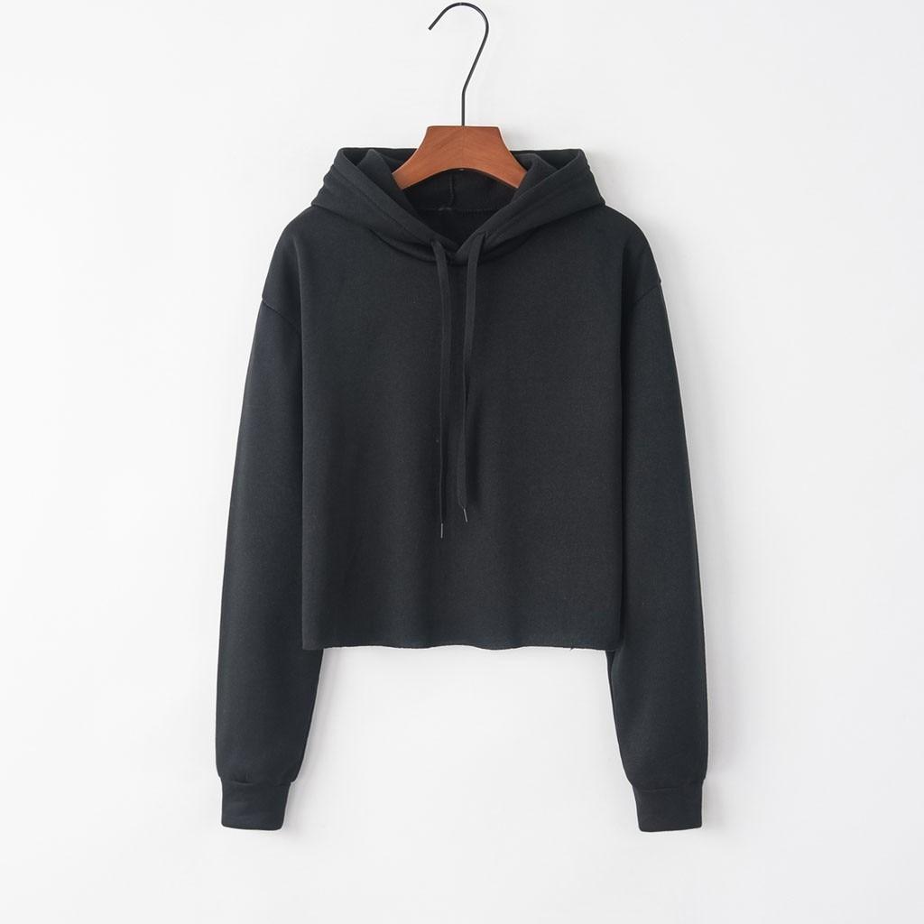 Solid Color Sweatshirt Women Loose Sweatshirt Long Sleeve Autumn and Winter Hooded Crop Tops ropa de mujer oto o invierno 2020