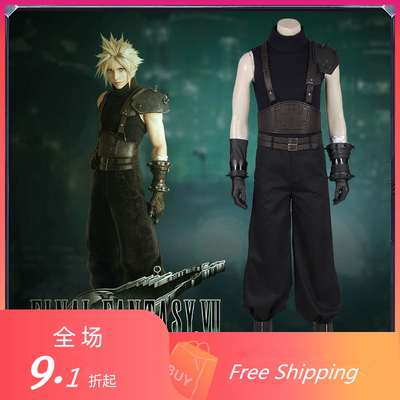 Role-Playing Game FF Final Fantasy VII 7 Cloud Strife Cosplay Costume Dress Manga Combat Gear NEW Free Shipping image