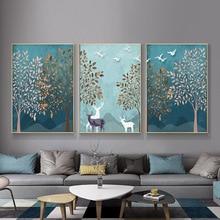 Абстрактные скандинавские современные украшения для дома, постеры, принты, холст, живопись, лесной пейзаж, Настенная картина для гостиной, спальни, Декор