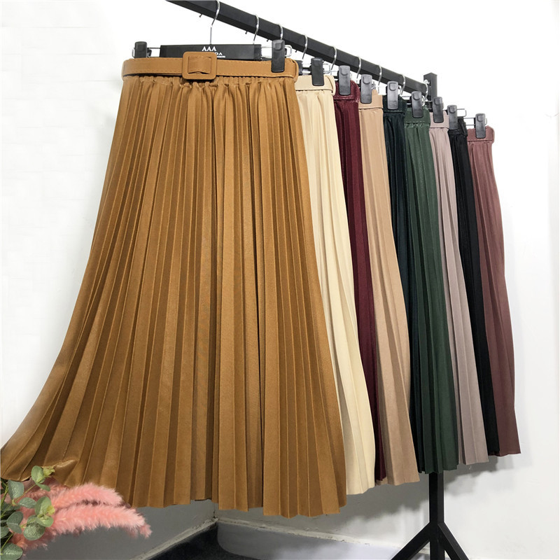 New 2020 Spring Women Pleated Midi Skirts Womens Casual Solid Korean Elastic High Waist Skirt Pleated Skirt With Belt
