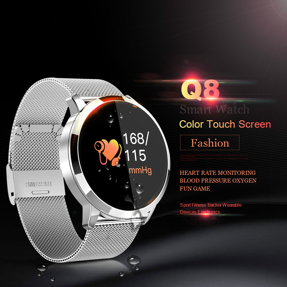 New products Q8 Heart Rate Monitor Smart Watch Blood Pressure Oxygen SmartWatch IP67 Pedometer Men Women Sport Fitness Watches