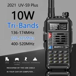 2021Baofeng UV-S9 Plus 10 Вт трехдиапазонный 136-174/220-225/400-520 МГц высокомощный любительский портативный любительский радиопередатчик CB
