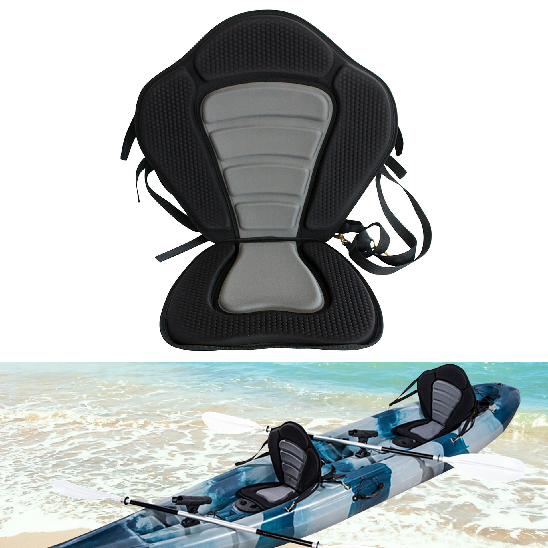Cross Border Hot Sales Black And White With Pattern Seat Cushion Kayaking Press Film Backrest Seat Cushion Arm Chair