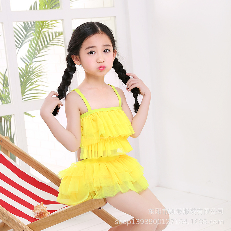 Hot Sales KID'S Swimwear Summer Cute Princess Dress-Two-piece Swimsuits Medium-small Girls Hot Springs Beach Swimwear