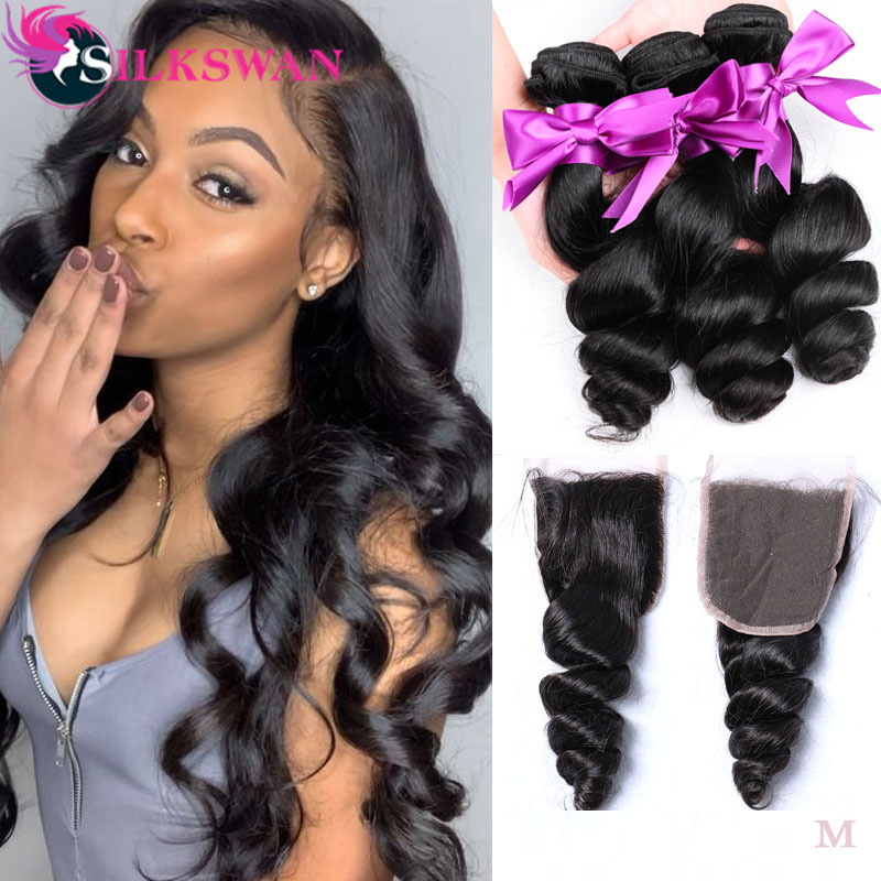 Loose Wave Bundles With Closure Silkswan Peruvian Hair Extension 4x4 Lace Top Closure With Bundles Human Remy Hair Deep Wave