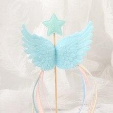 1 шт блестящая пентаграмма Пластиковые крылья кисточка Свадьба День рождения ребенок душ праздник торт Топпер подарок