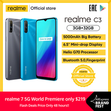 realme C3 Global Version 3GB RAM 32GB ROM Pro Mobile Phone MTK Helio G70 CPU 12MP Camera 6.5