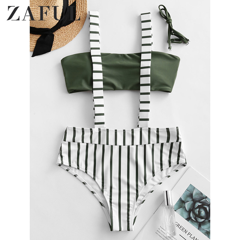 ZAFUL Women Striped Suspender Padded Bikini Swimwear Summer Female Biqinis Stripe Swimsuit Bikinis Mujer 2020